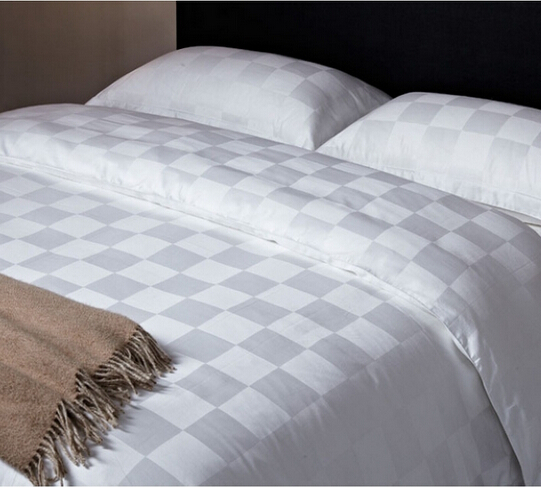 100% cotton Check White Bedding Sets/Jacquard Bed Sheets