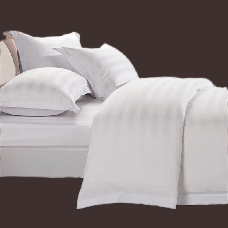 Poly Cotton 50 50 Satin Stripe Hotel Bedding Sets Bed